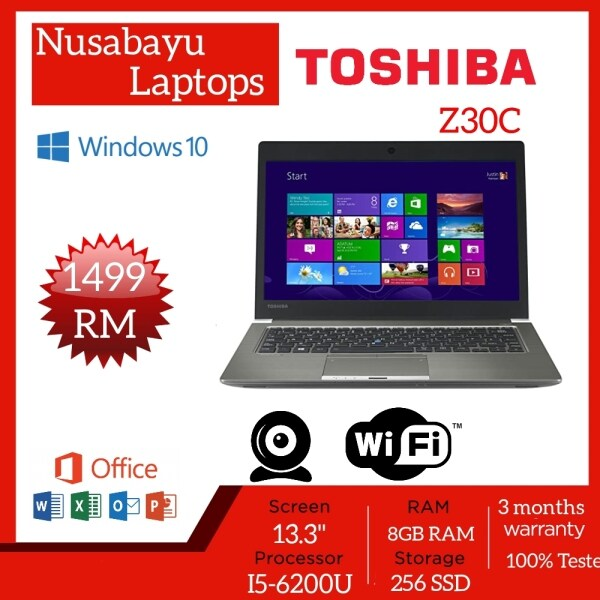 Toshiba Z30C, 13.3 inches Laptop with Intel Core i5-6th Gen, 8GB RAM - 256 SSD / Windows 10 Pro (used laptop in Nice condition) Malaysia