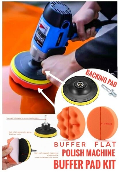 Car Polish Machine Pad Kit Sponge Buffer Buffing Polishing Waxing Head Sponge Pad Polish Machine Backing Pad Sanding Pad With Drill Adapter For Car Care Polisher Tool Buffer 5 Inch Waffle Flat Style