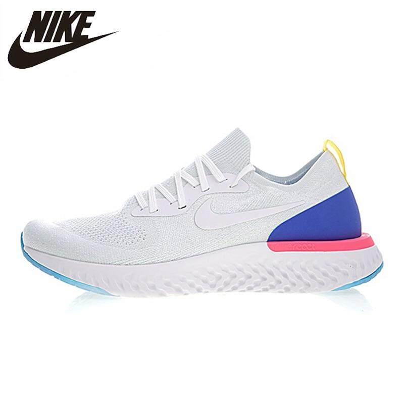 timeless design 80f02 b75be Nike Epic React Flyknit Women Running Shoes White Blue Sneakers Sport  Outdoor Breathable AQ0070-600