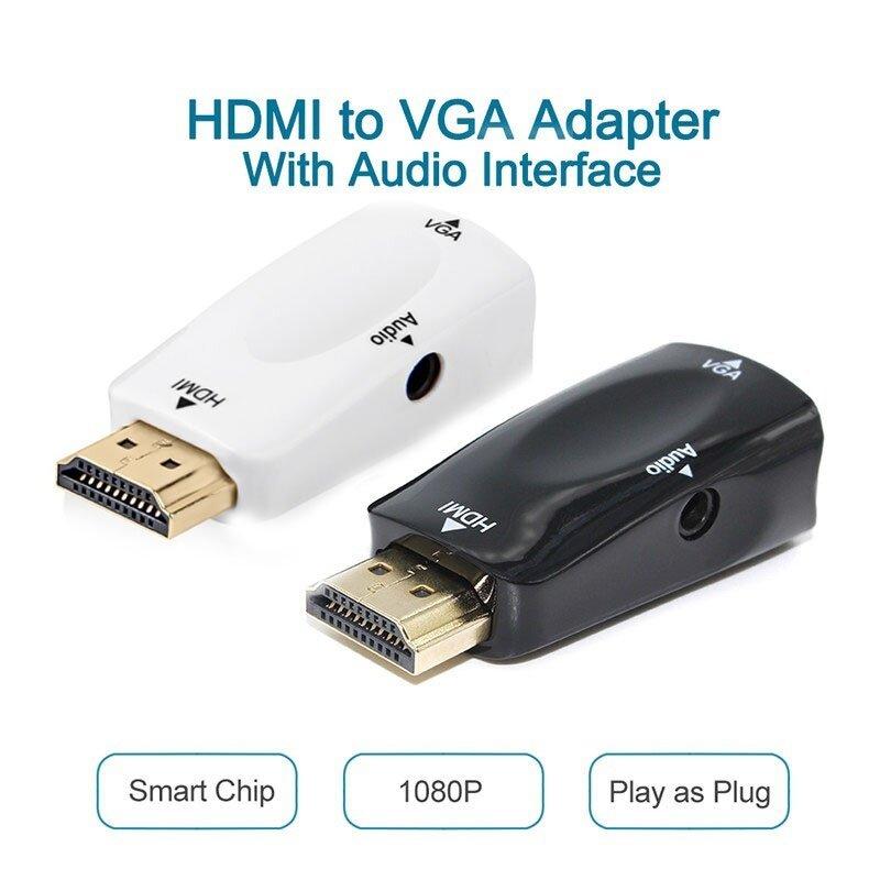 Bảng giá Đen/Trắng 1080P HDMI Nam Đến VGA Adapter Chuyển Đổi Video Với Âm Thanh Đầu Ra Phong Vũ