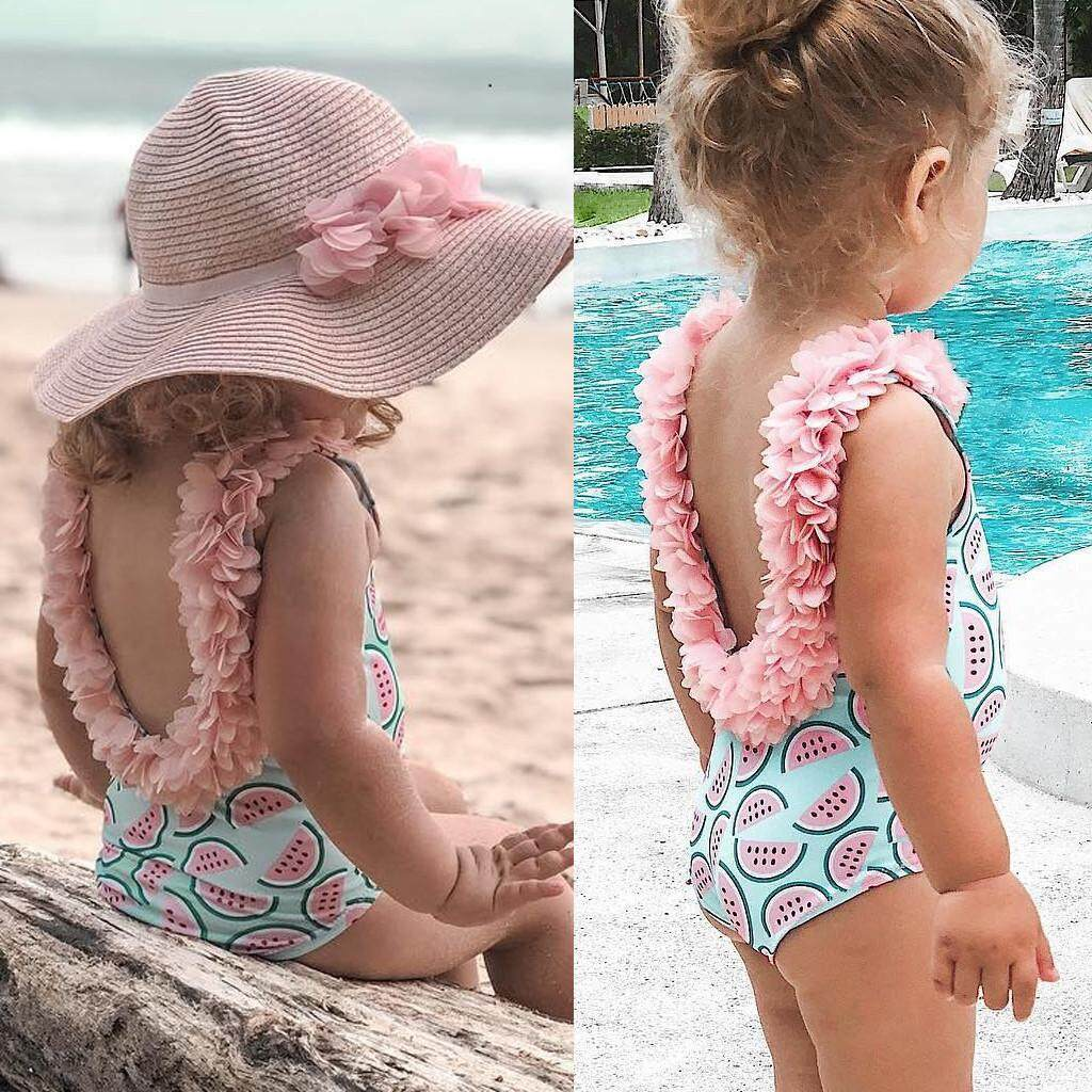0413e104d3e 2019 Swimsuit Toddler Kids Baby Girl Ruffled Print Bikini Beach Swimsuit  Bathing Swimwear