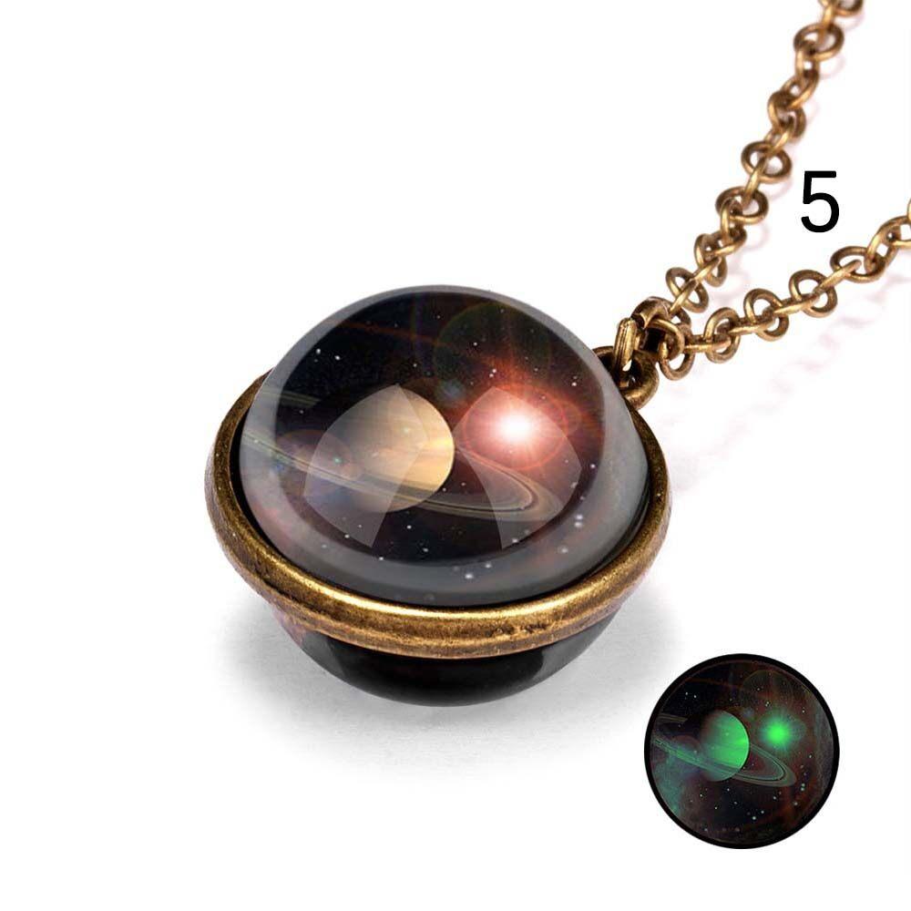 1 * Đàn Ông Tinh Vân Quyến Rũ Thủy Tinh Hai Mặt Hợp Kim Hành Tinh Galaxy Trái Đất Dây Chuyền Chạm Xương Quai Xanh Trang Sức Vòng Cổ Hai Mặt Dây Chuyền