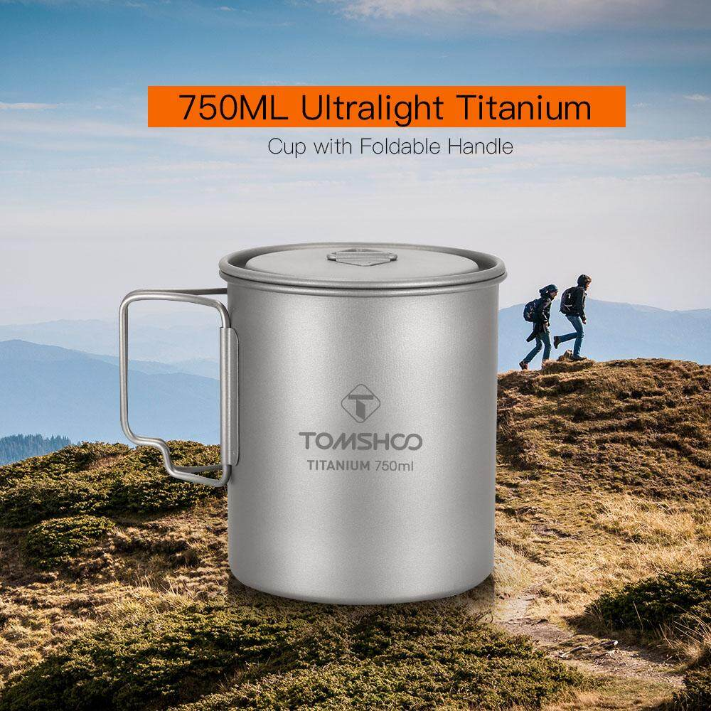 0017d1608a3 TOMSHOO Ultralight 750ml Titanium Cup Outdoor Portable Camping Picnic Water  Cup Mug with Foldable Handle