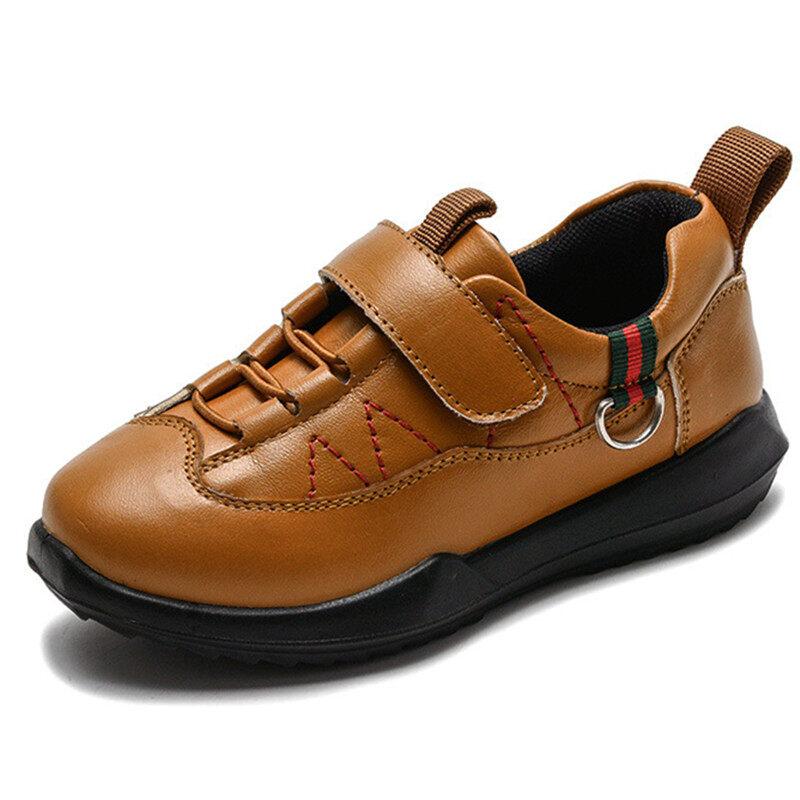 Blzfq Giày Da Cho Trẻ Em Giày Đi Học Da Nguyên Hạt Mùa Thu Đen Mùa Xuân Phẳng Với Giày Tây Cho Bé Trai Giày Dự Tiệc Oxford Cỡ 26-37