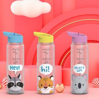 Cốc Nước Thể Thao Hình Động Vật Hoạt Hình Bằng Nhựa Không Chứa BPA Ngoài Trời Ống Hút 720ML thumbnail