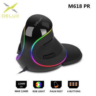 Chuột Dọc Tiện Dụng Delux M618 PR RGB, Chuột Máy Tính Quang 124000 DPI 6 Nút Với Phần Tựa Tay Có Thể Tháo Rời Cho PC Máy Tính Xách Tay thumbnail