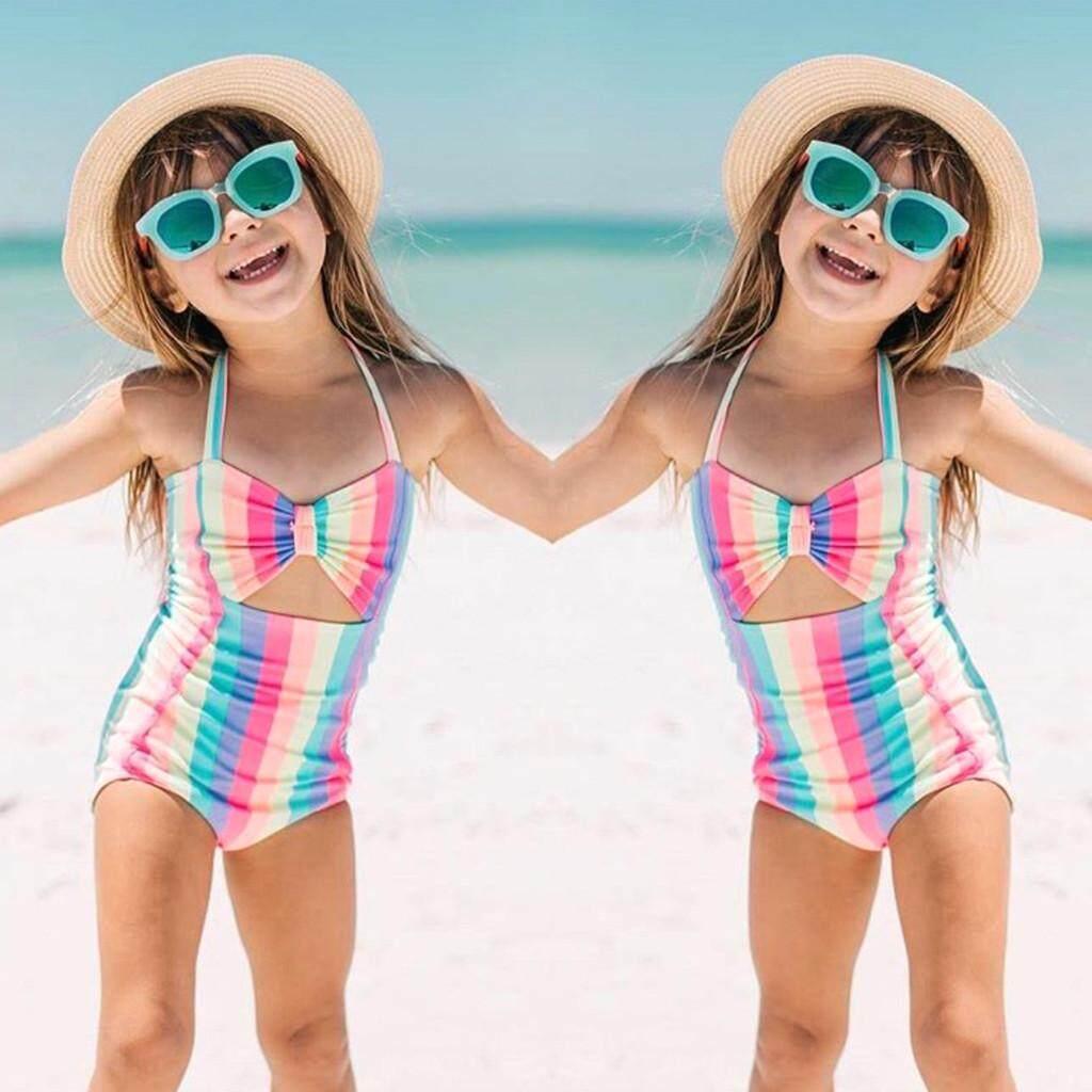 2a242eb05e 2019 swimwear Toddler Baby Kids Girls Stripe Rainbow Swimwear Swimsuit  Beach Romper Clothes
