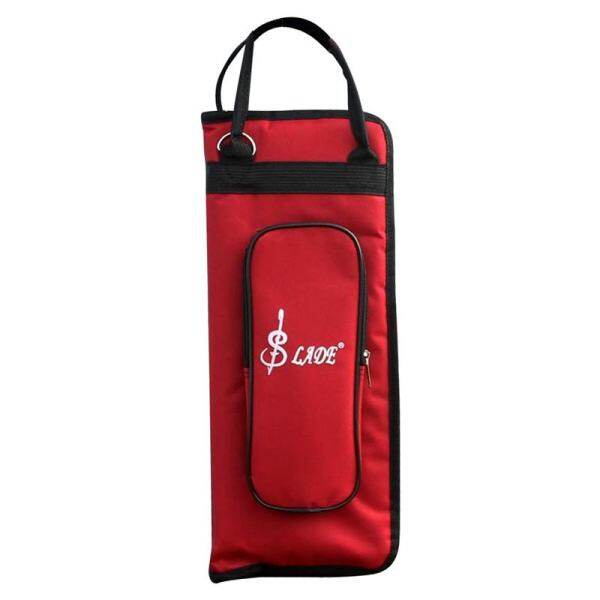 Drumstick Bag Case Drum Stick Holder Percussion Drum Mallet Bag with External Pocket and Floor Tom Hooks, Red