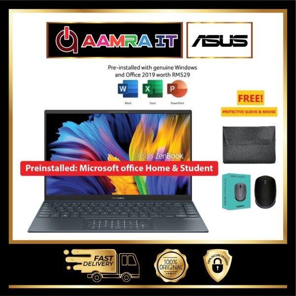 ASUS ZENBOOK 14 UM425U-AAM066TS 14 FHD LAPTOP PINE GREY RYZEN 7 5700U, 8GB, 512GB SSD, ATI, W10, H&S Malaysia