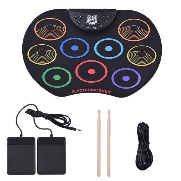 Kỹ Thuật Số USB 9 Pads Đầy Màu Sắc Cuộn Lên Drum Set Silicone Điện Tử Drum Kit Với Dùi Trống Và Duy Trì Bàn Đạp