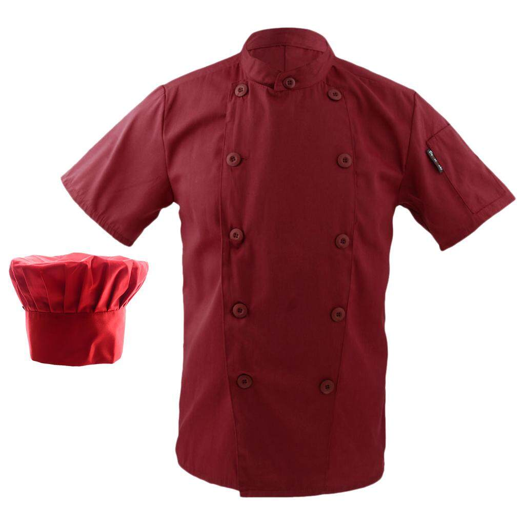 Fenteer Men Women Collar Double Breasted Short Sleeve Chef Coat Uniform + Chef Hat