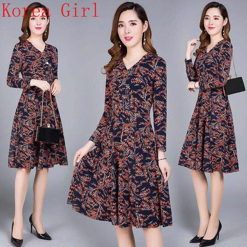 53ed06ea487 Autumn new Korean women s fashion casual loose round neck floral  long-sleeved dress