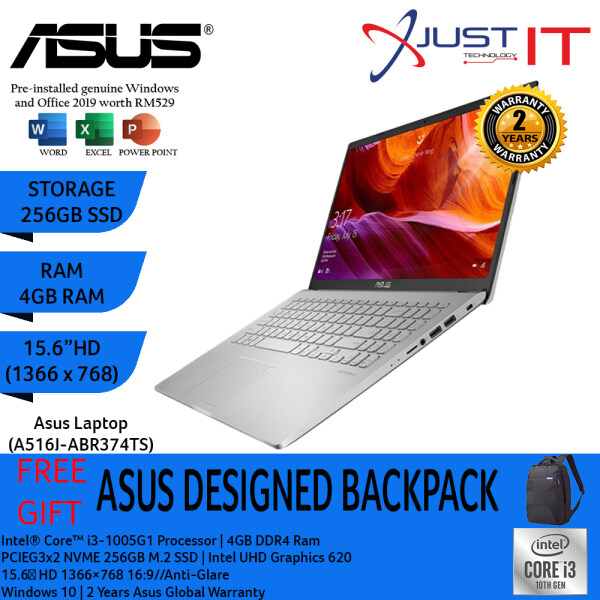 ASUS A516J-ABR374TS I3-1005G1 4GD4 256SSD WIN10H SILVER (WITH MS OFFICE H&S) Malaysia