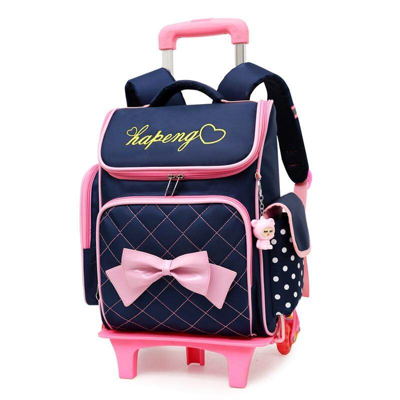 Top Quality Children school bags for Girls Bow Cute Detachable Trolley Backpack  Kids travel luggage book b45188d9c48af