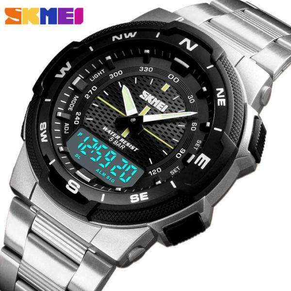 SKMEI Watch Fashion Mens Sport Watches Double Time Stopwatch Chronograph Sports Wristwatch Men Alarm Clock Mens Stainless Steel Watch Malaysia