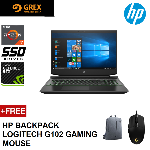 HP PAVILION GAMING 15-EC1060AX LAPTOP ( RYZEN 7 4800H,8GB,512GB SSD,15.6 FHD,GTX1650 4GB,WIN10) FREE BACKPACK + LOGITECH G102 GAMING MOUSE Malaysia