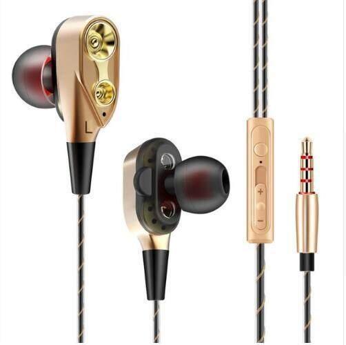 Hot 3.5 Mm Di Telinga Pelantang Bas dengan MIC Double Unit Drive Stereo Kabel Earbud Musik