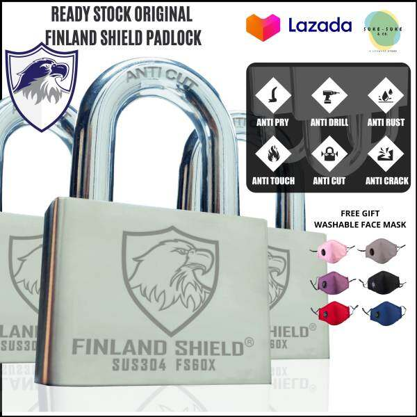[Finland Shield] ORIGINAL Padlock Version 3 Anti Cut Security Lock Kunci Motor/Grill/Multipurpose + FREE Washable Mask