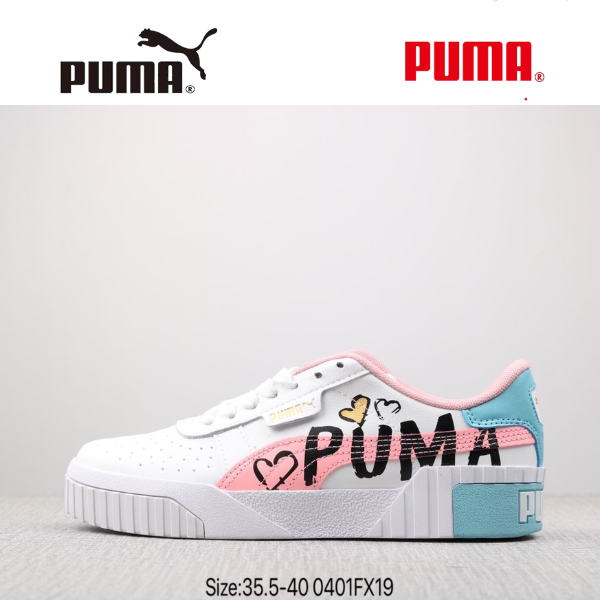 SunzzㆍPuma Cali pure white rose gold Valentine's Day graffiti women's  sneakers white shoes