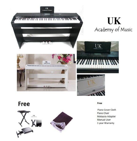 UK Digital Piano 88 Standard Keyboard Keys+Piano Stool+Malaysia Adapter+Manual User+Piano Cloth Malaysia