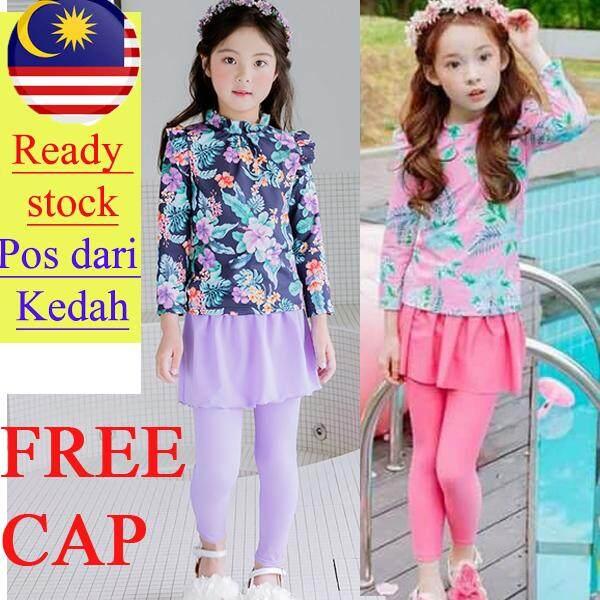 788b9e75e0 Kedah READY STOCK kid girl sweet swimwear set floral long sleeve and  skirted swim pants with