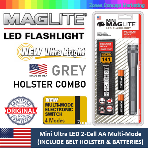 [FACTORY CLEARANCE] MAGLITE Mini Ultra LED 2-Cell AA Multi-Mode Flashlight (Holster Combo Pack) (141 Meter Beam Distance) (Made in USA)