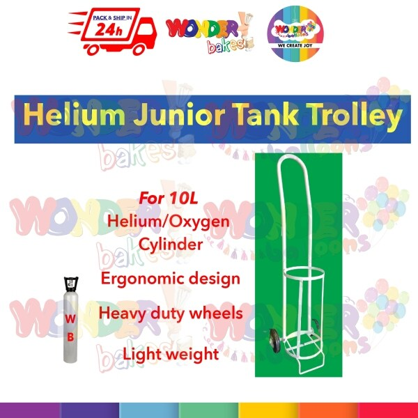 [Ship in 24 hr} Helium Balloon Gas Junior Tank Trolley - Metal with Wheels