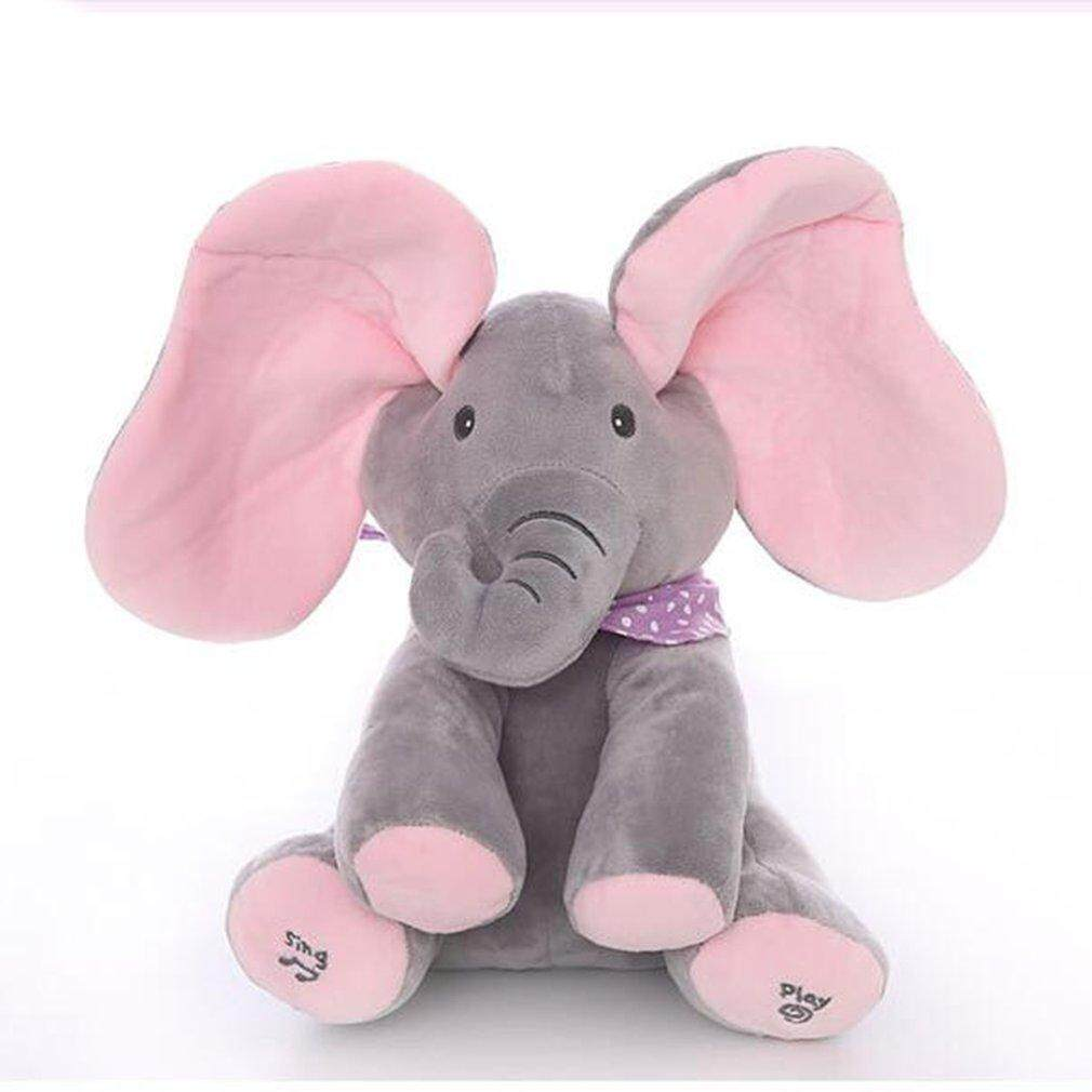 Boneka Top Mengintip-A-Boo Gajah Plush Ciluk Ba Abu-Abu Plus Versi Bahasa Inggris Gajah By Topregal.