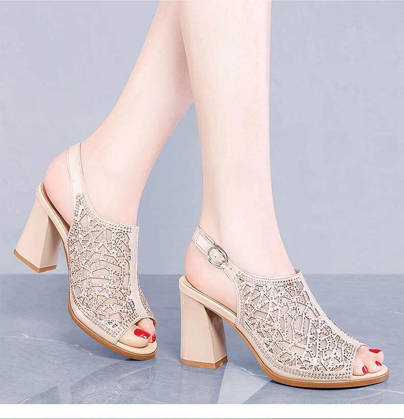 cff5fb926a4d Summer Fashion High Heel Sandals for Women Rhinestone Fish Mouth Sandals  Heel Shoes