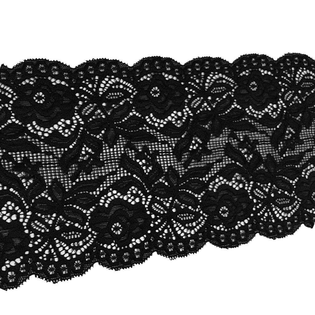 Black Trim Elasticated Lace Ribbon Floral Design Crafts DIY Dress Making 5inches