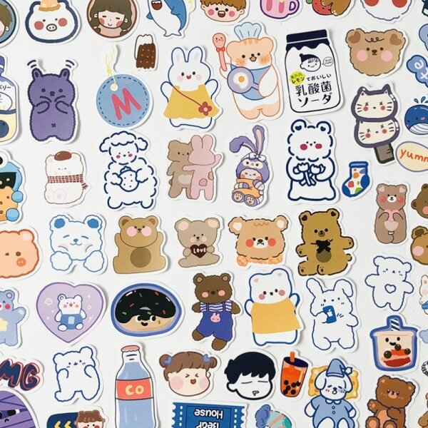 Waterproof and Traceless Journal Stickers Suit90Notebook Pieces Fresh Cartoon Cute Girl Heart Animal Diary