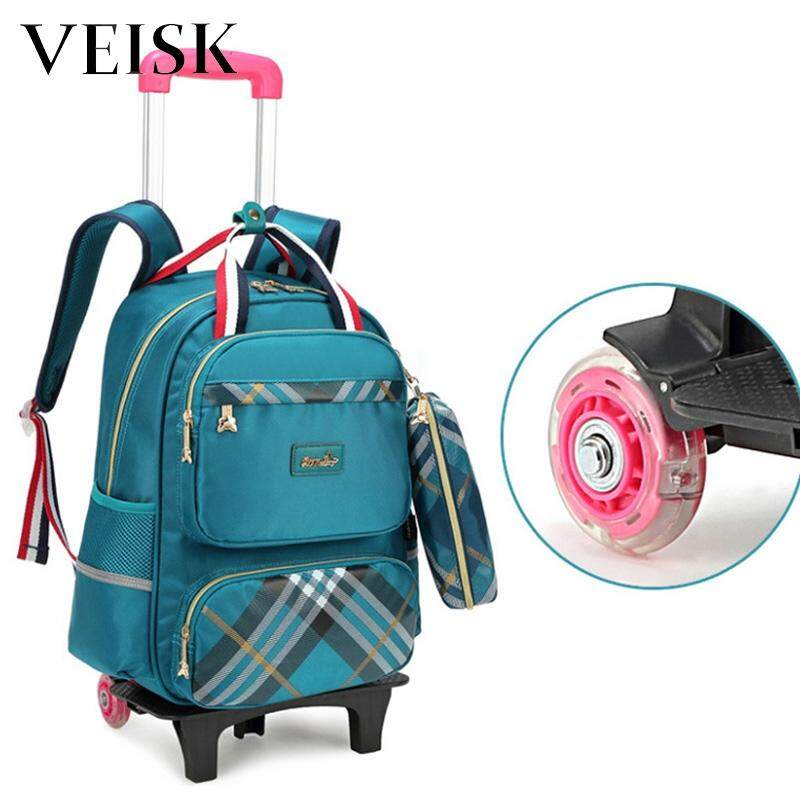 Veisk Rod Bag Primary School Students Male Girls Children Stair-climbing Remove Drag Trolley Bag