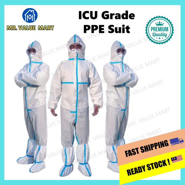 【MSIA SELLER】**SUPPORT LOCAL** PPE Suit ICU Grade Medical Coverall Jumpsuit Isolation Suit with Blue Strip 65g Waterproof Highest Protection Virus Free
