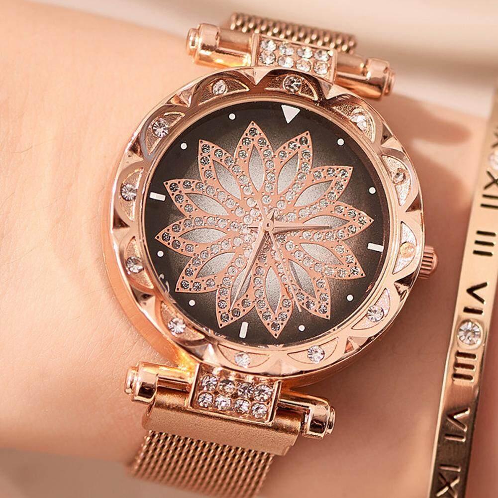 [COD]2019 Fashion Women Quartz Watch Starry Flower Diamond Watches Stainless Steel Magnetic Bracelet Creative Lady Wristwatches Malaysia