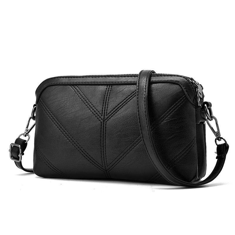 Leather Women Handbag Luxury Messenger Bag Soft Pu Leather Fashion Ladies Crossbody Bags Female Black