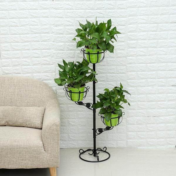 Plant Pot Stand Flower Display Metal Shelf Garden Patio Floor Indoor Outdoor