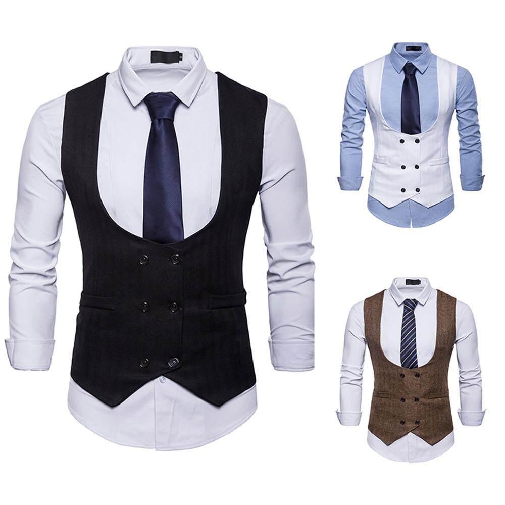 1dfee9d8a67 Viktoriastore Mens Autumn Winter Formal Double-Breasted Suit Waistcoat Vest  Jacket Top Coat