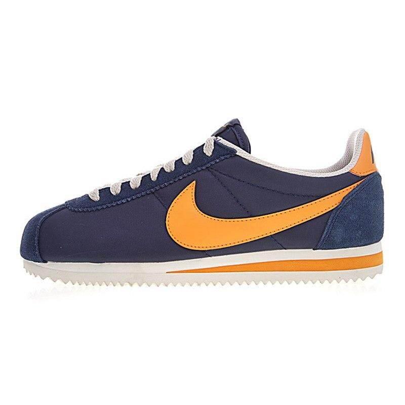 Nike Classic Cortez Nylon Mens Running Shoes, Navy Blue & Orange, Lightweight Wear-Resistant Sweat-Absorbent 488291 410 By Domi & Vanse.