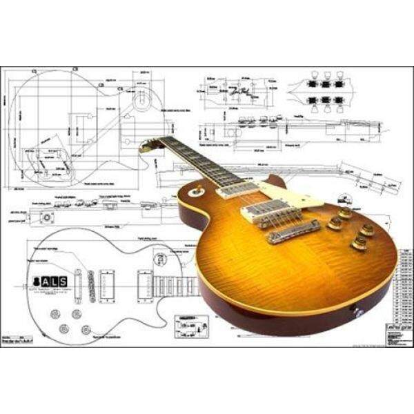 Plan of Gibson Les Paul 59 Electric Guitar - Full Scale Print Malaysia