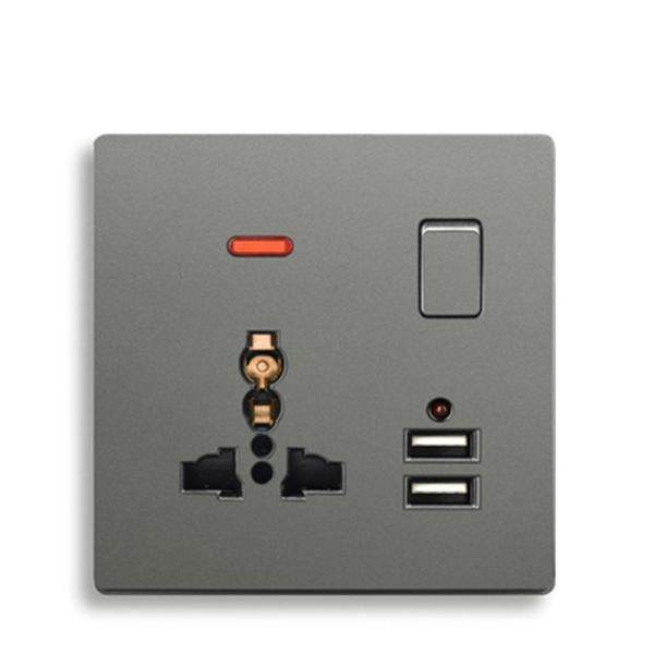3 pin universal wall socket and 13A Gray color plastic Panel wall outlet with double USB socket