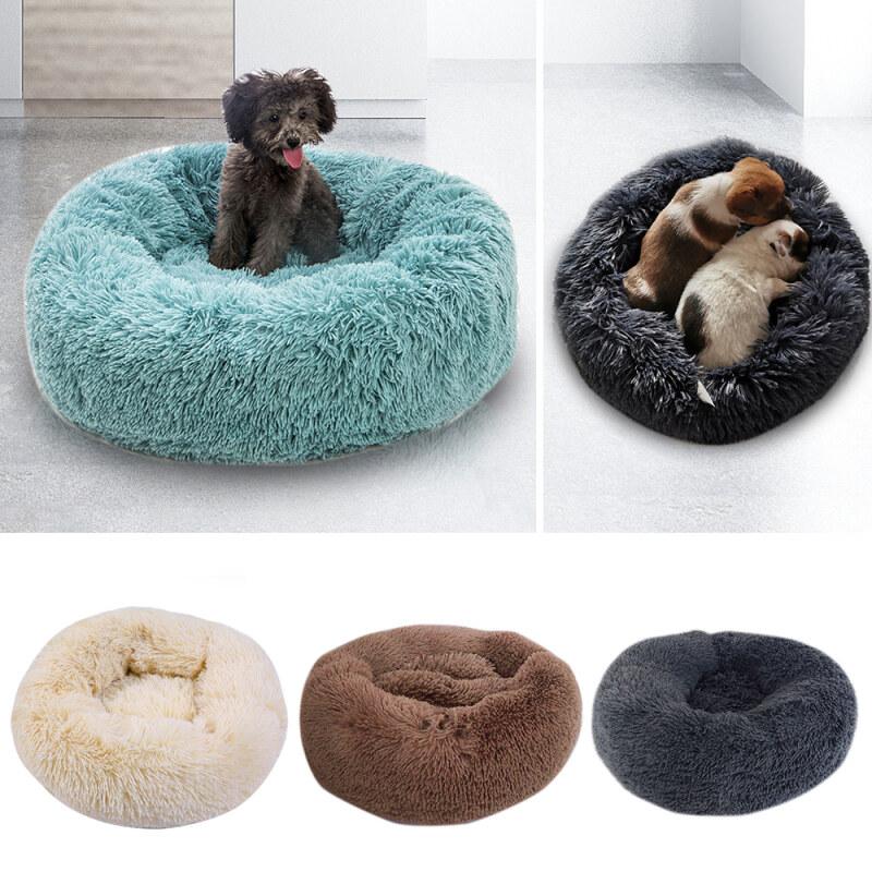 Dog Round Cat Mùa Đông Ấm Ngủ Giường Dài Sang Trọng Mềm Pet Làm Dịu Mat