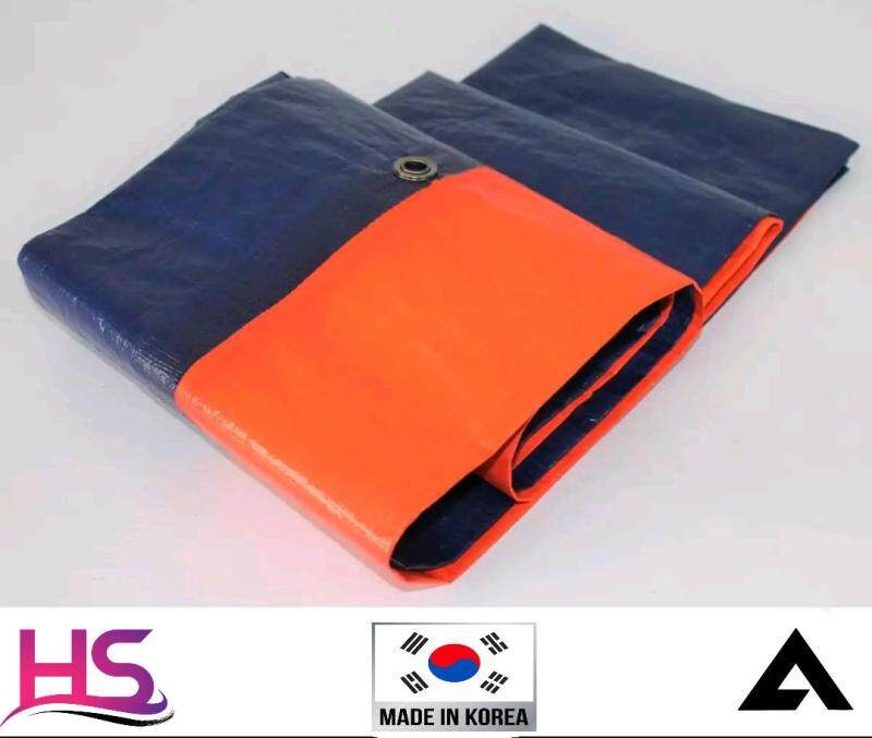 1414 Blue Orange 10  x 10  Canvas (Korea) Ready Made PE Tarpaulin Sheet Outdoor Construction Renovation Floor Cover Hardware Canopy Tent Side Wall Shield Waterproof UV Protection with Grommets Eyelets. Kanvas Biru Oren Kanopi Khemah