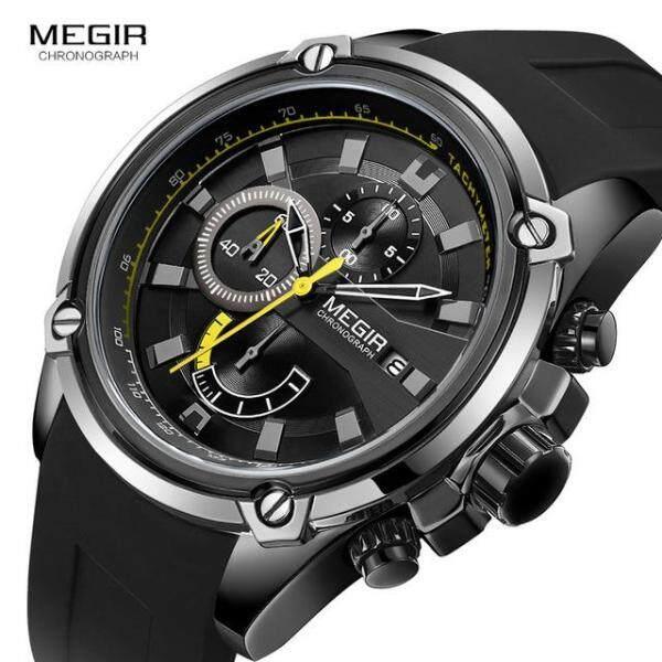 MEGIR Brand Watch Army Sports Quartz Watches Men Black Silicone Strap Military Marine Chronograph Wristwatch for Man Relogios Malaysia