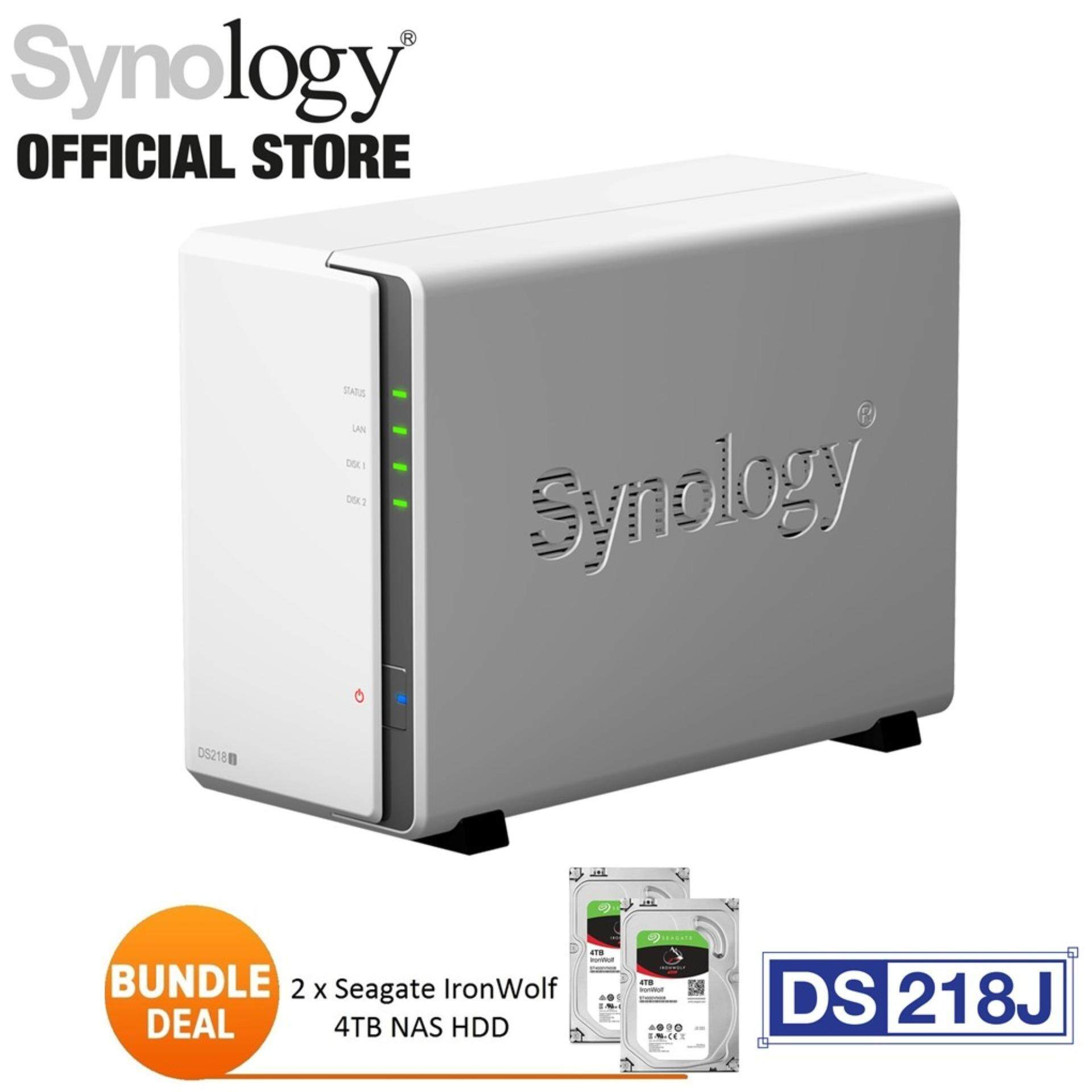 Synology DS218j NAS DiskStation 2-Bays Bundle 2unit 4TB Seagate Ironwolf  NAS Hard Drive