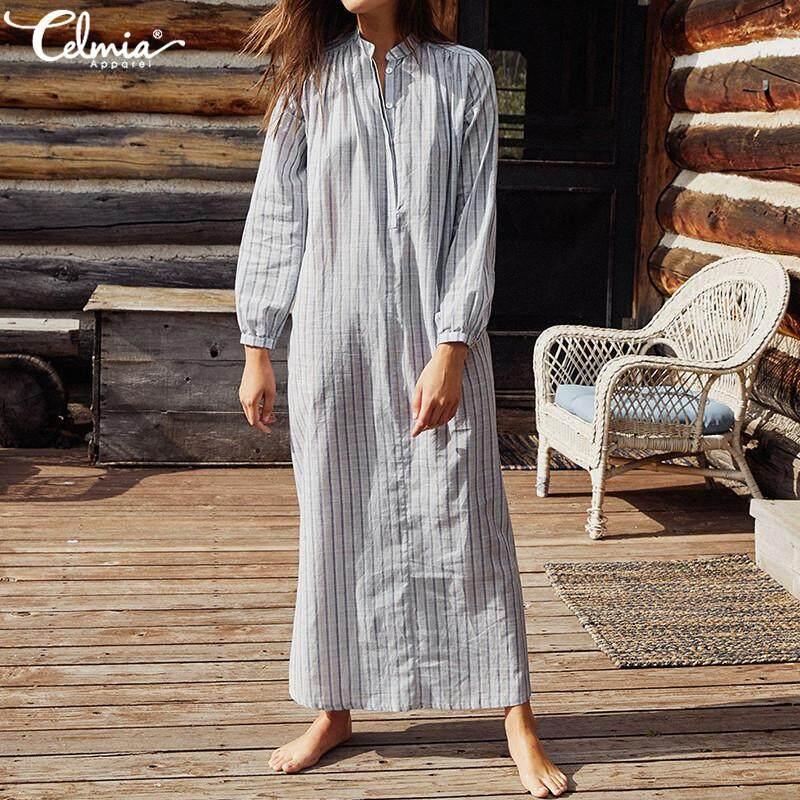 eddee255 Celmia Women V-neck Long Sleeve Casual Striped Holiday Beach Long Shirt  Dress