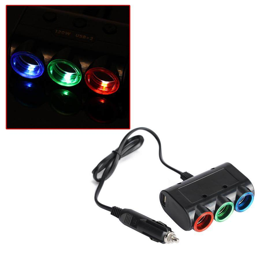 Universal 3 Way Car Lighter Socket Splitter Plug 120w 2a Double Usb Car Charge With Red/blue/green Led Light By Guangzhou Possbay Trading Co., Ltd.
