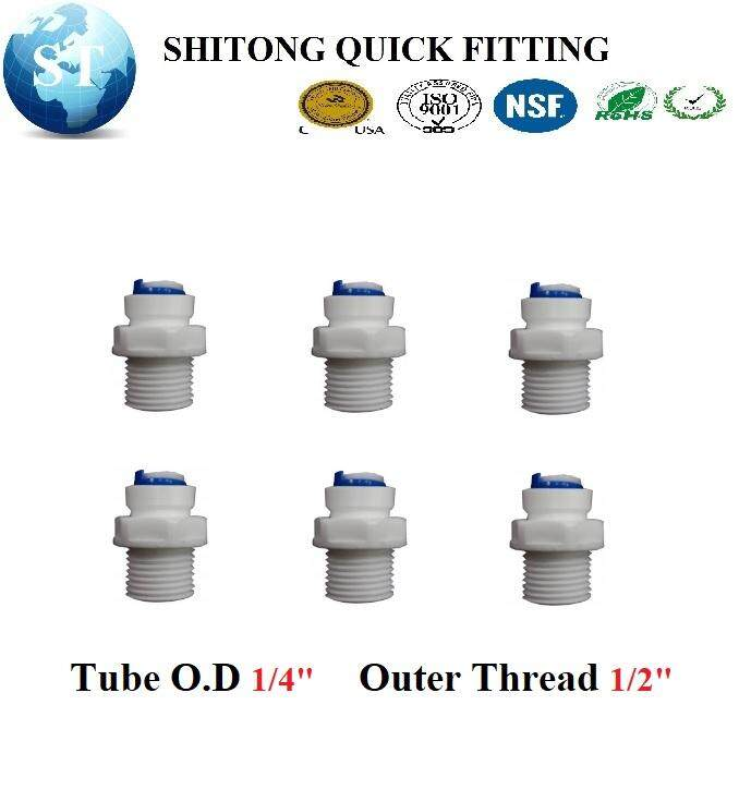 WATER FILTER RO FITTING QUICK FITTING QUICK CONNECT I FTTING SOCKET MALE SOCKET 1/2 X 1/4 OD I TYPE ADAPTOR MALE ADAPTOR ( 6PCS/BOX ) ST022A