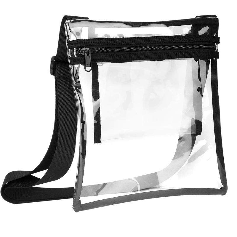 PVC Clear Cross-Body Purse Approved Clear Bag with Inner Pocket and Adjustable Strap for Sports Event Concert Festival