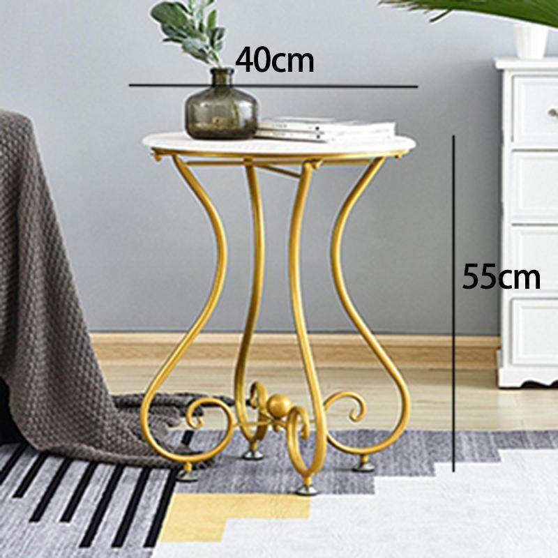 RuYiYu - 40x55cm, Simple Casual Small Round Table, European Wrought Iron Solid Wood Coffee Table, Sofa Corner Small Coffee Table