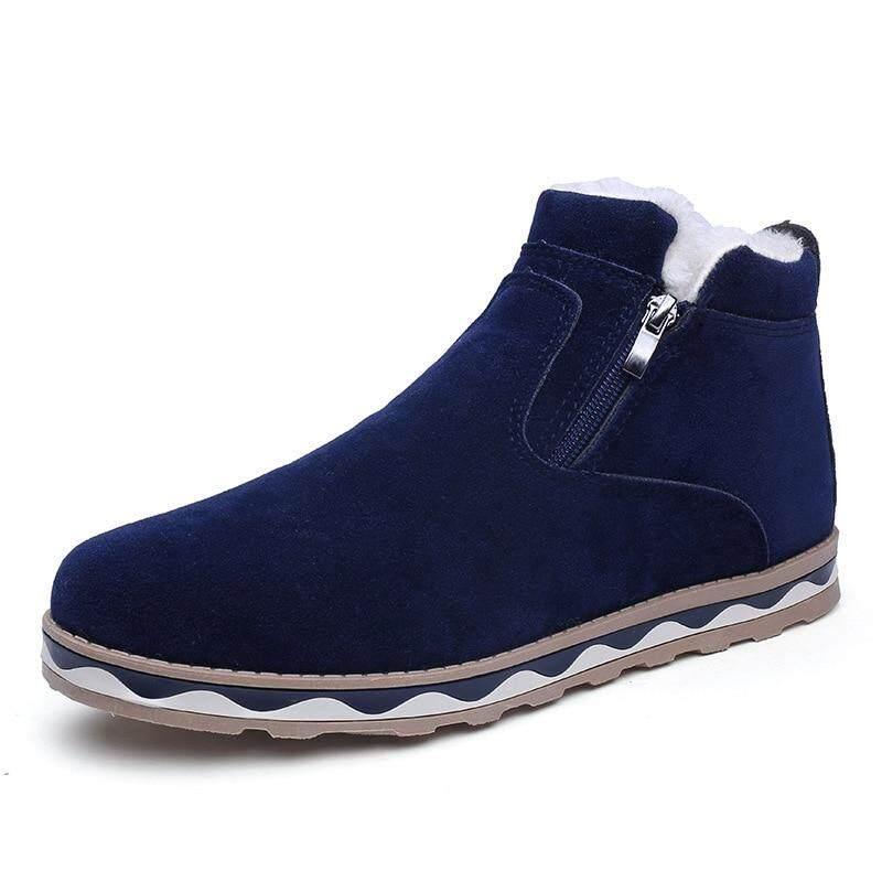 ผู้ชายรองเท้าบูตลุยหิมะสำหรับผู้หญิงสีทึบหนังนิ่มไมโครไฟเบอร์ Warm บูทหุ้มข้อบุรุษซิปธรรมชาติ Woollen รองเท้าบู๊ตส้นสูงรองเท้าคริสต์มาส By Westben.